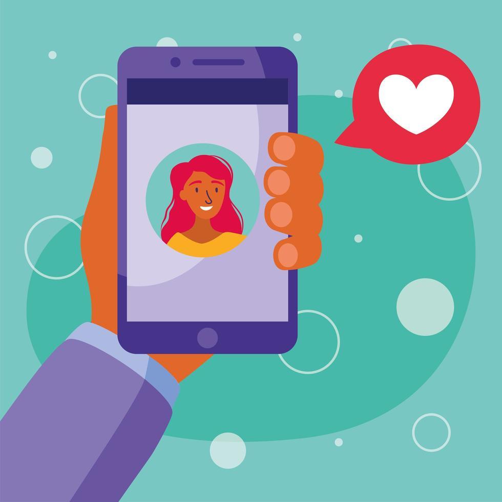 kvinna avatar på smartphone i videochatt med bubbla vektordesign vektor