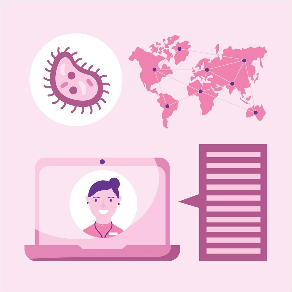 Online-Ärztin auf Laptop-Blase und Karte Vektor-Design vektor