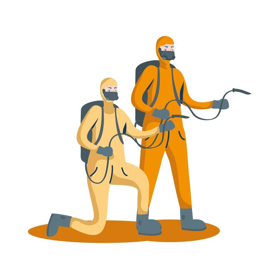 Männer mit Schutzanzügen und Schläuchen Vektordesign vektor