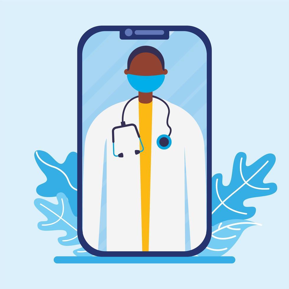 online manlig läkare med mask på smartphone-vektordesign vektor