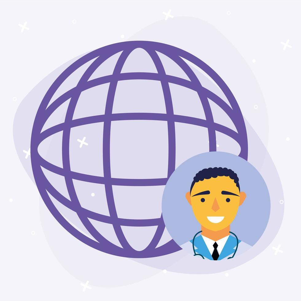 online manlig läkare med global sfärvektordesign vektor