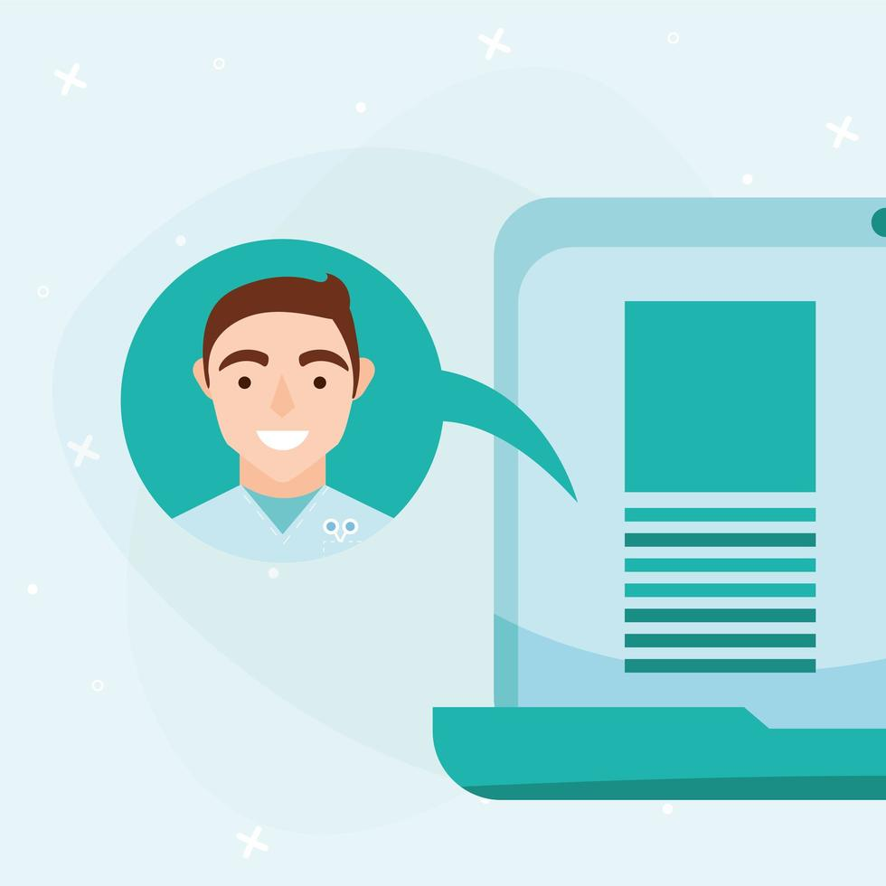 Online-männlicher Arzt auf Blase mit Laptop-Vektor-Design vektor