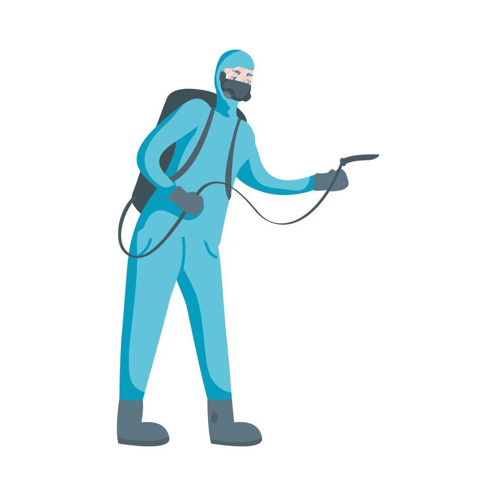 Mann mit Schutzanzug und Schlauchvektordesign vektor