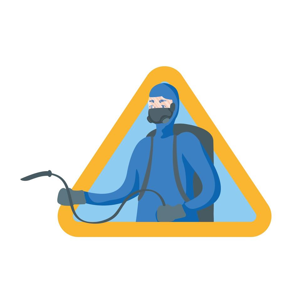 Mann mit Schutzanzug und Schlauch im Dreiecksvektorentwurf vektor