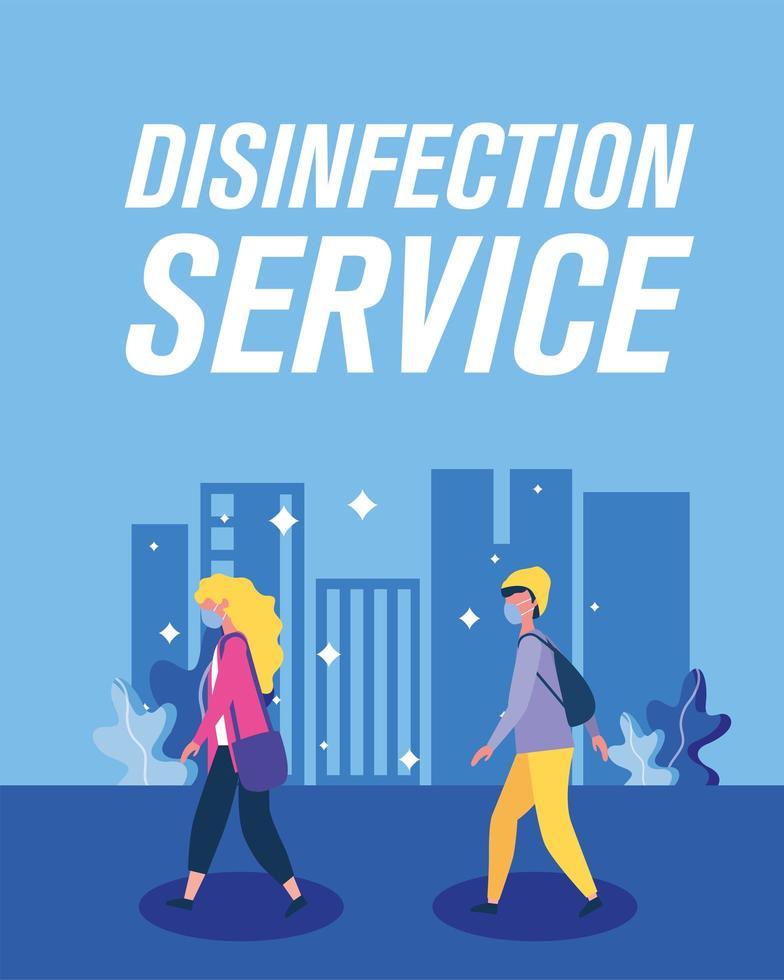 Junge und Mädchen mit Masken und Desinfektionsdienstvektorentwurf vektor