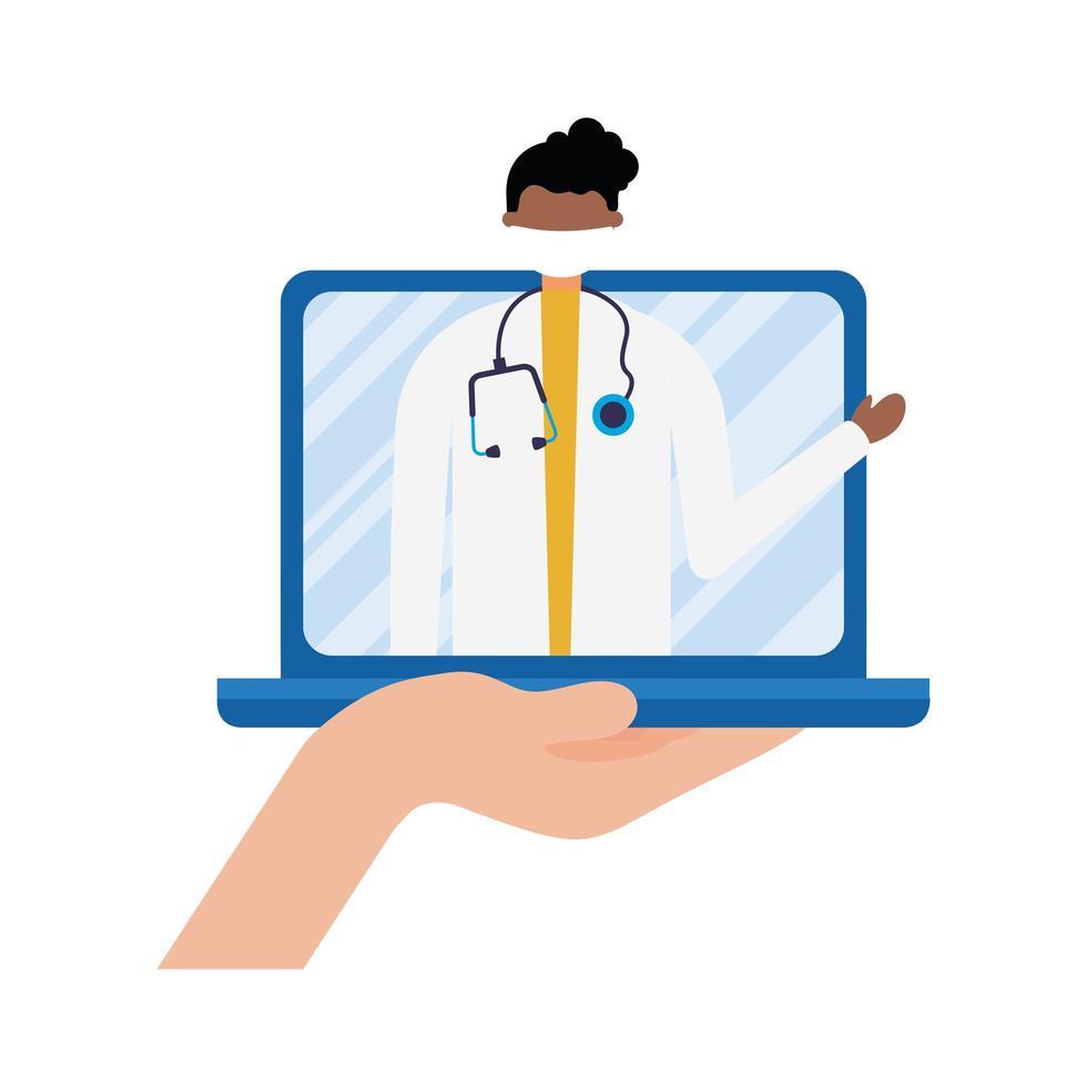 online manlig läkare med mask på bärbar vektordesign vektor