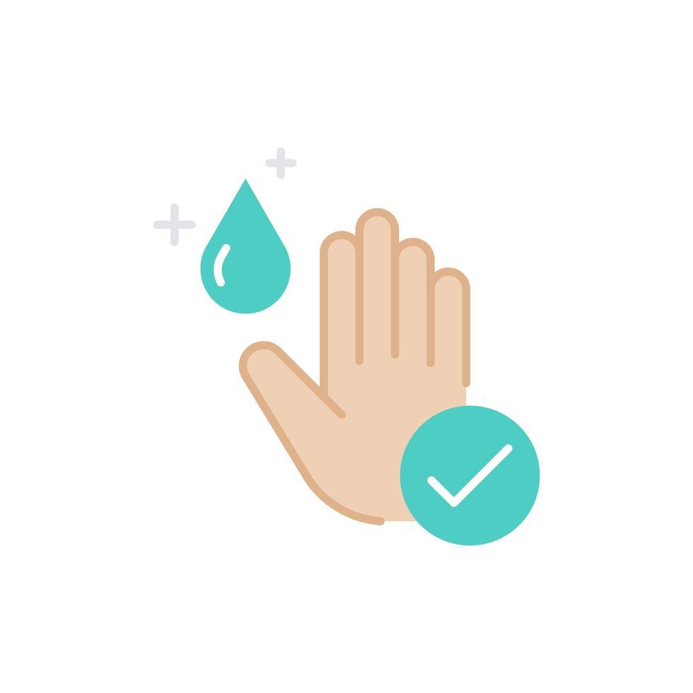 flaches Symbol der Hand mit Händedesinfektionsmittel gereinigt vektor