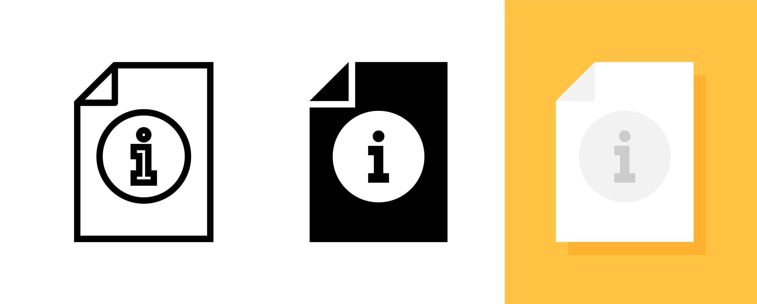 informationsdokument ikonuppsättning vektor