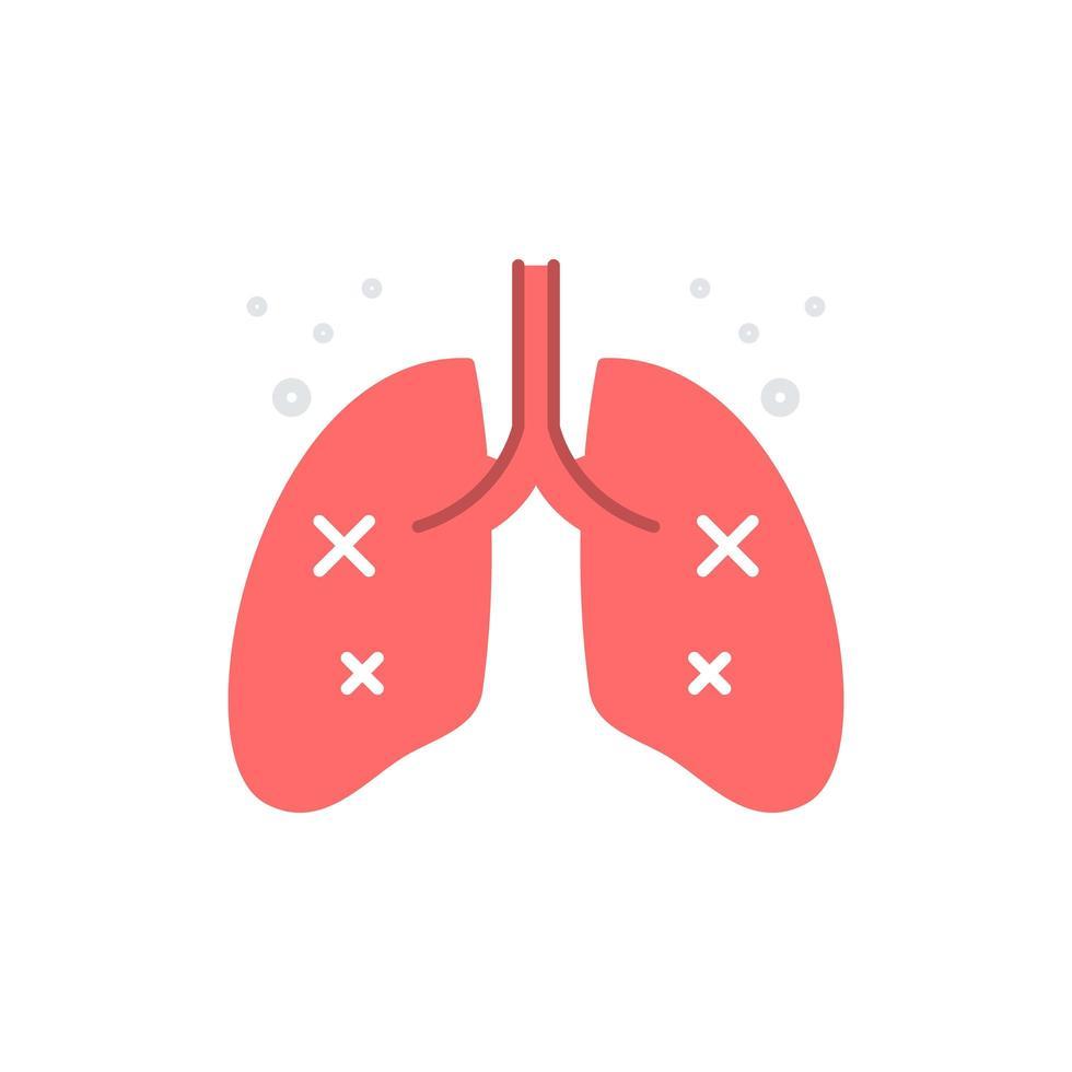 skadad eller infekterad lung flat ikon vektor