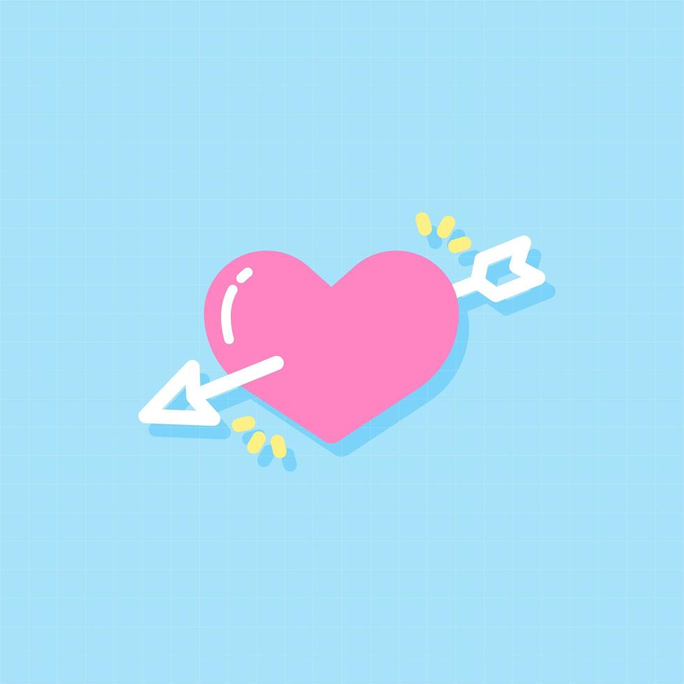 Herz und Pfeil flaches Gestaltungselement vektor