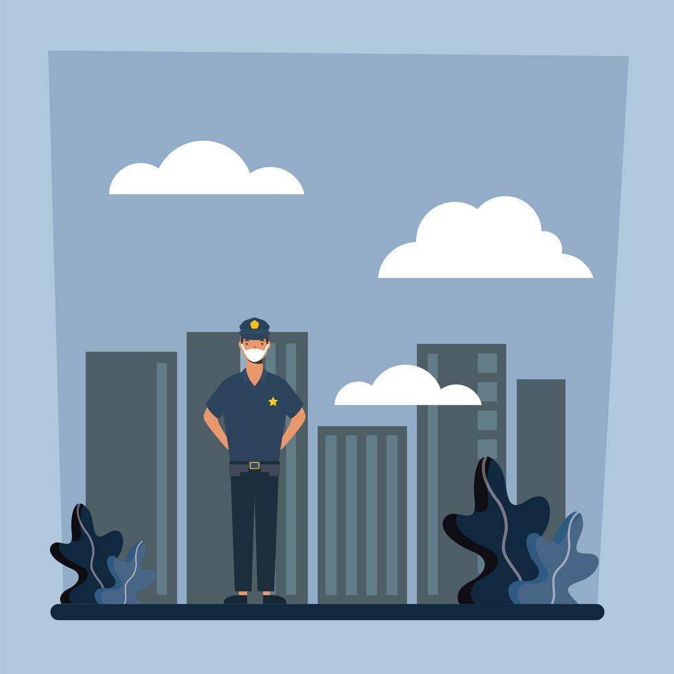 polis man med mask på stadsvektordesign vektor