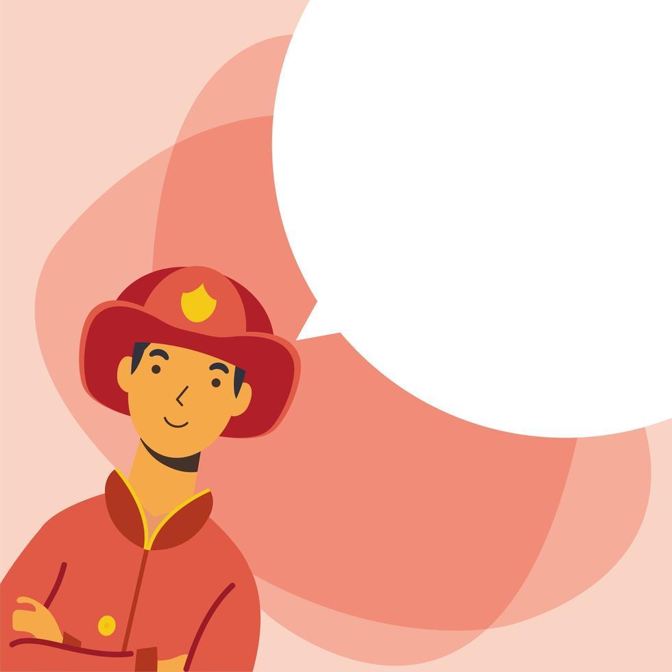 brandman man arbetare med bubbla vektor design