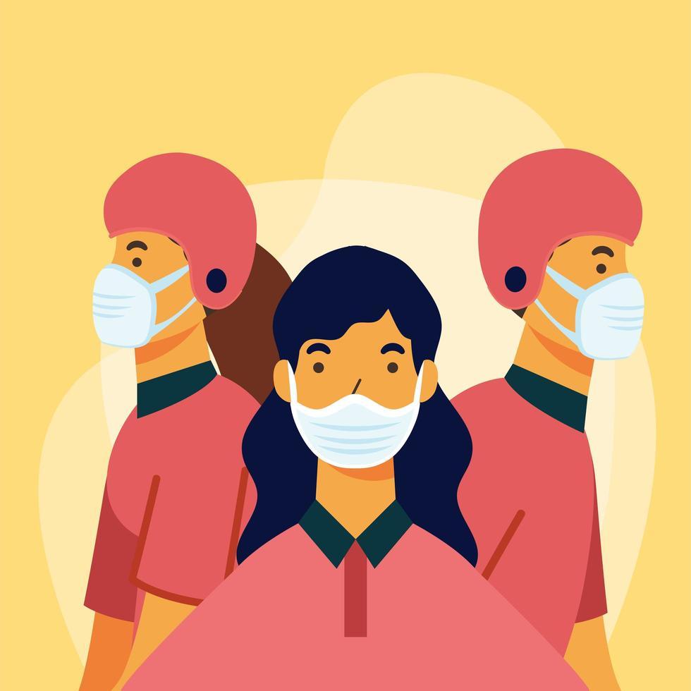 leverans kvinna och män med masker och hjälmar vektor design