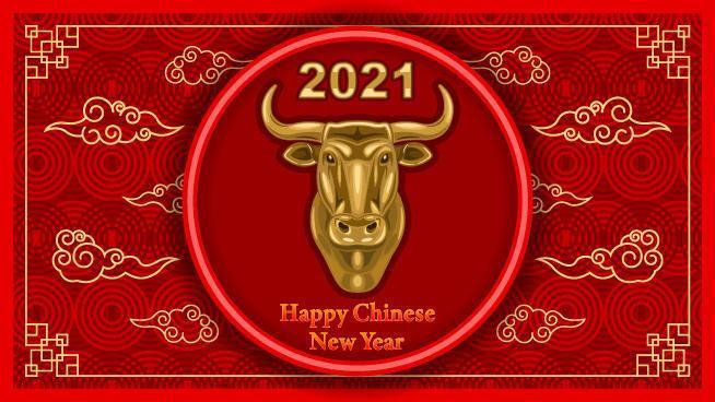 2021 kinesiskt nyårsbanderoll med tjurhuvud av metall vektor
