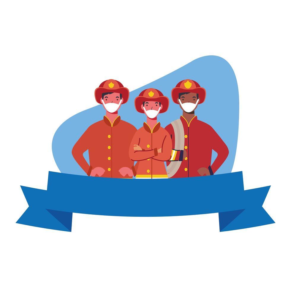 brandmän män med masker och band vektor design
