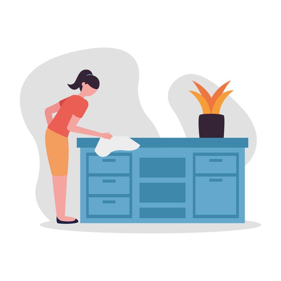 Frau, die Möbel zu Hause Vektordesign reinigt vektor