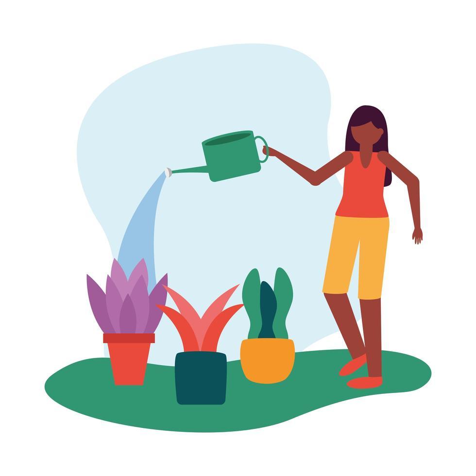 Frau mit Gießkanne und Pflanzenvektorentwurf vektor