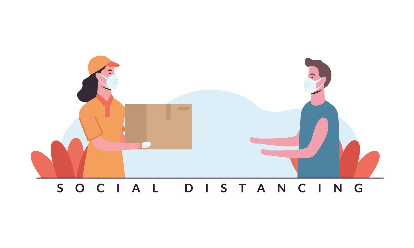 social distansering mellan leverans kvinna och man med masker vektordesign vektor