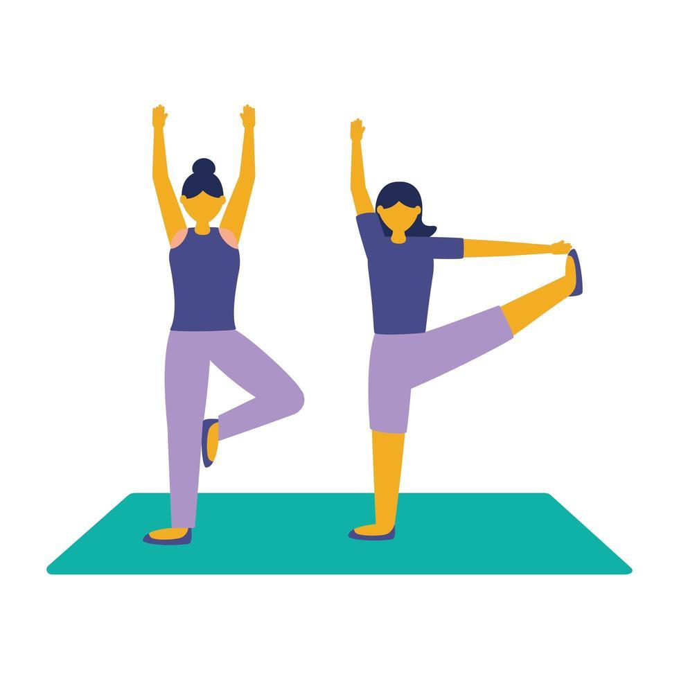 kvinnor med sportkläder gör yoga vektordesign vektor