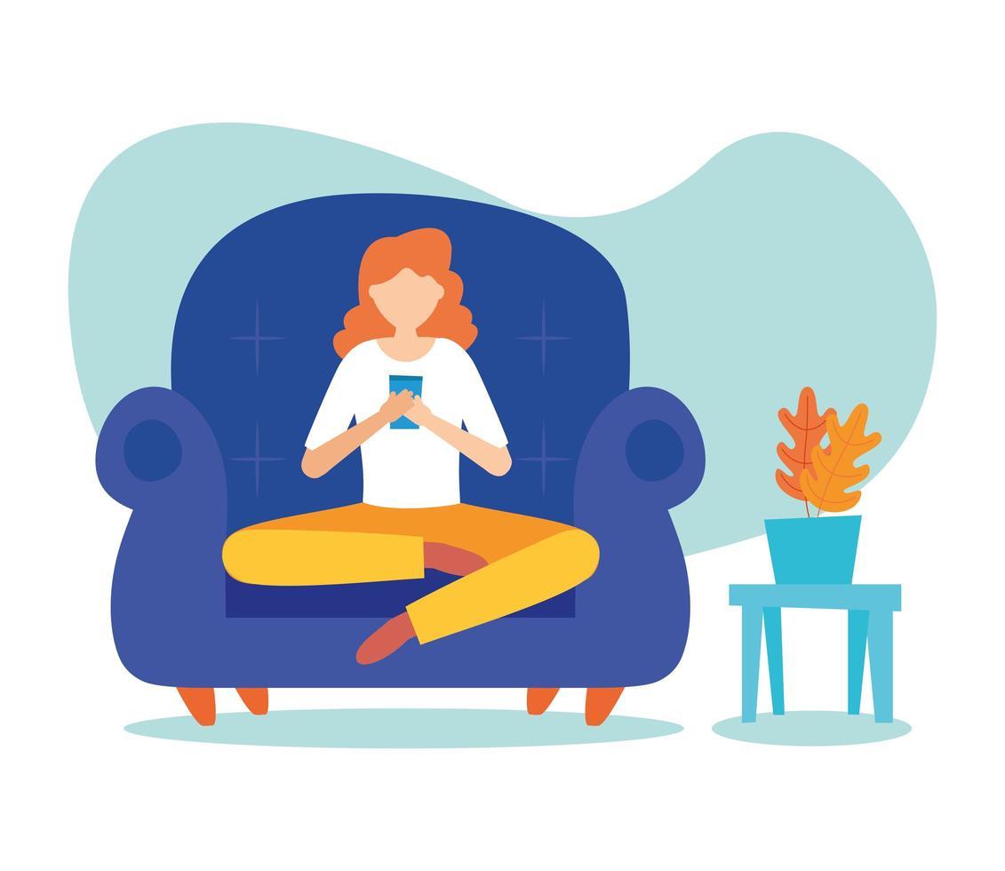 kvinna med smartphone på stol hemmavektordesign vektor