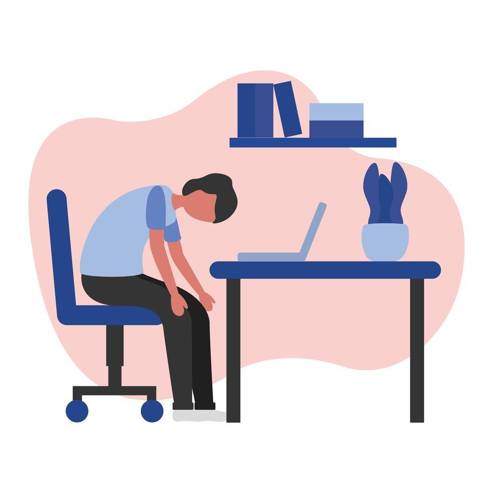 Mann müde auf Schreibtisch Vektor-Design vektor