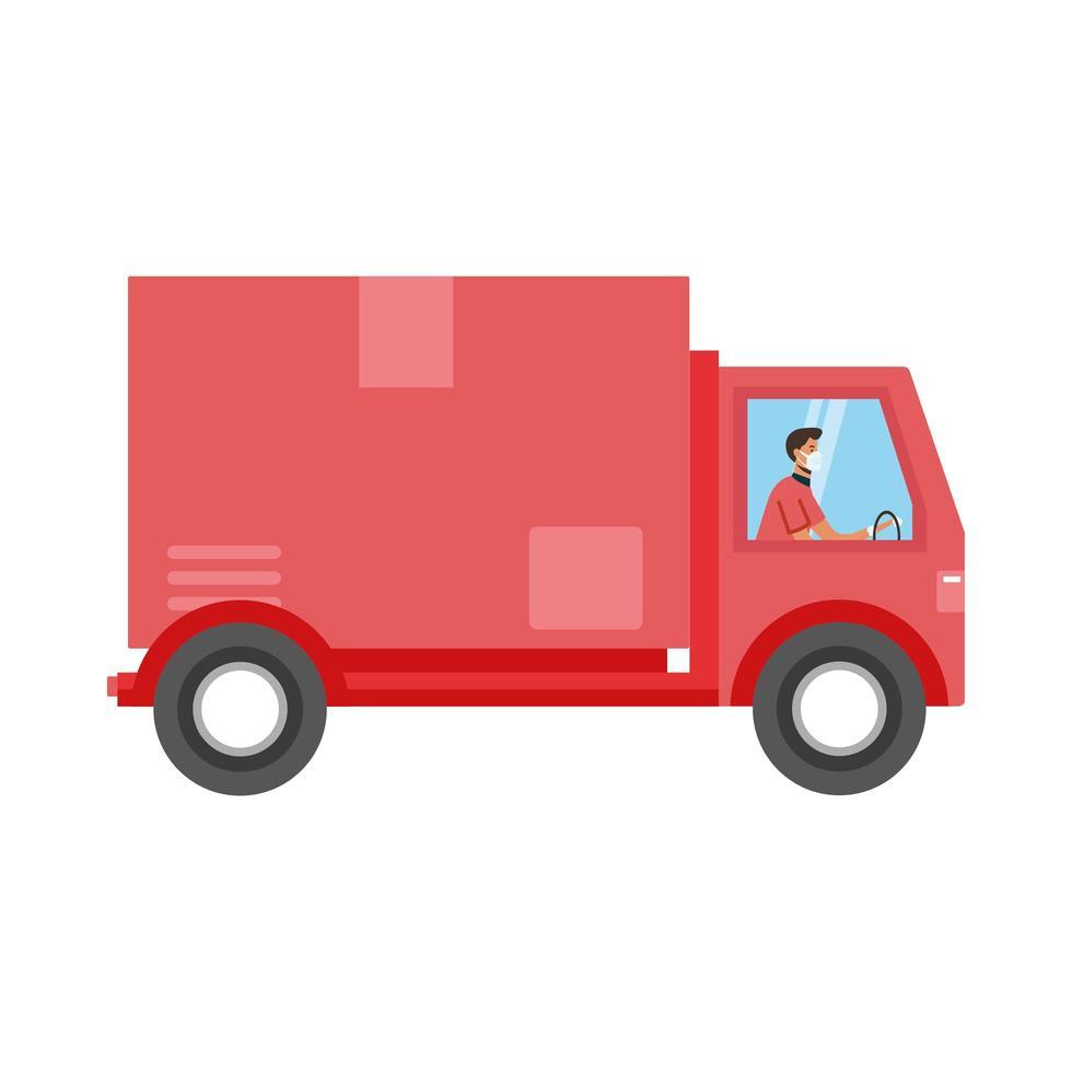isolerad man med mask på leverans lastbil vektor design