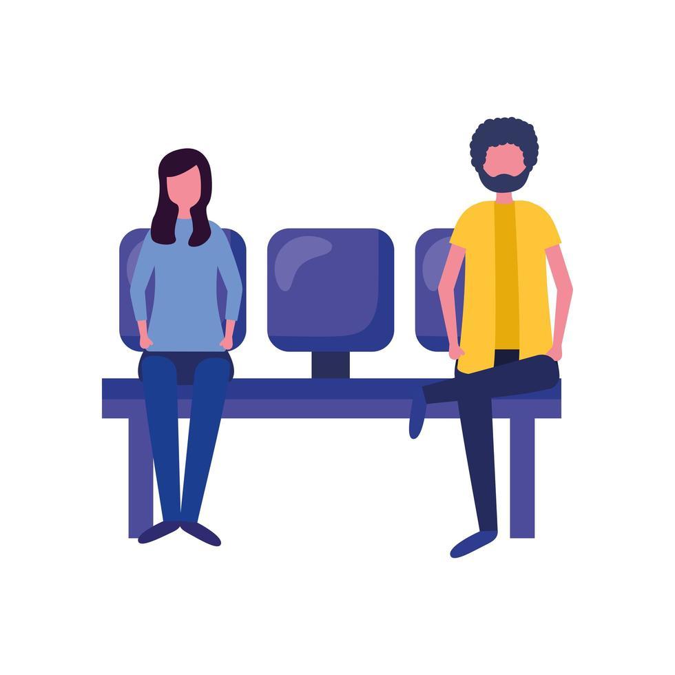 man och kvinna på flygplatsstol vektor design