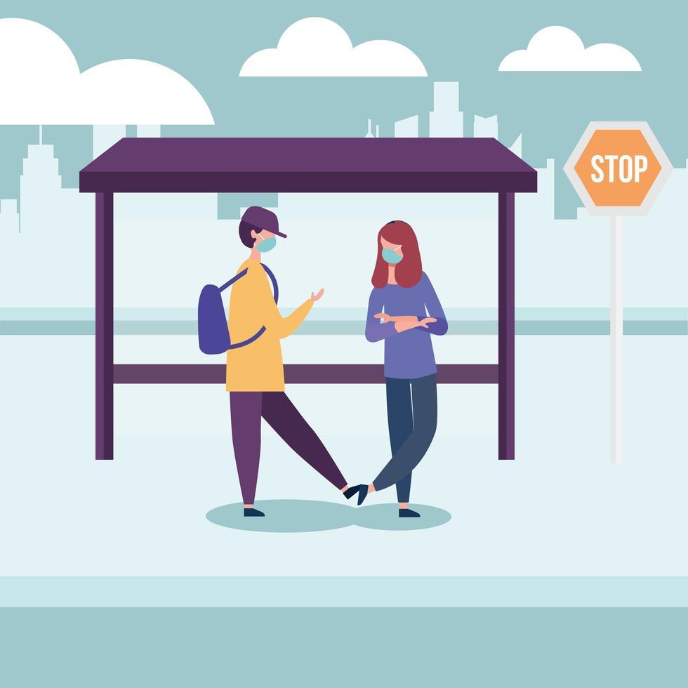 Schuljunge und -mädchen mit medizinischer Maske am Bushaltestellenvektordesign vektor