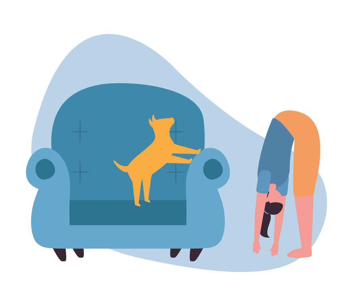 kvinna med hund på stol hemmavektordesign vektor