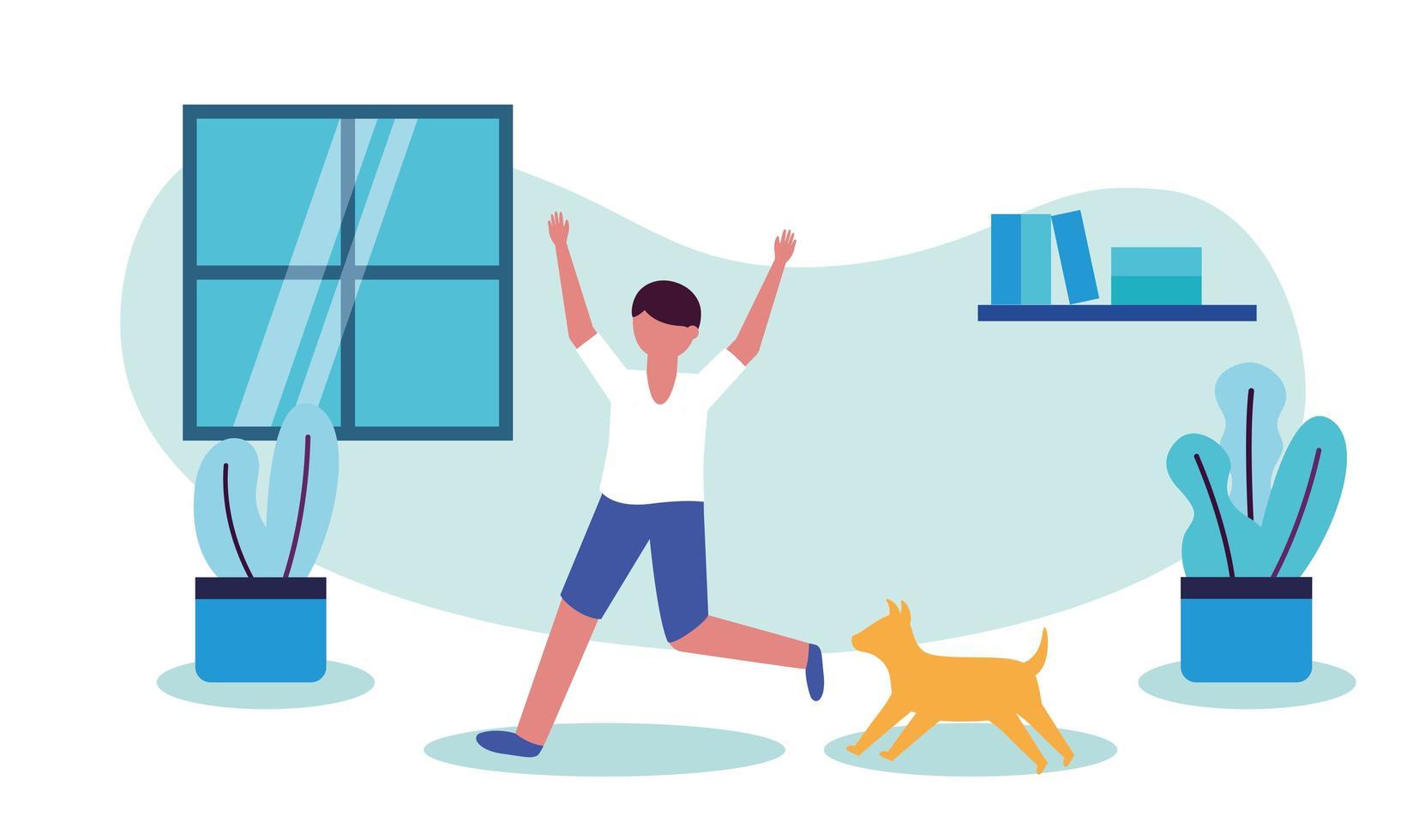 man med hund hemma vektordesign vektor