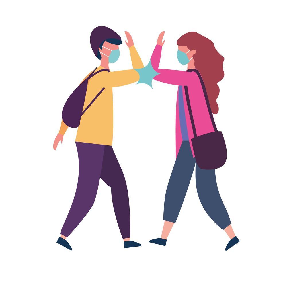 skolpojke och flicka med medicinsk mask och armbågshälsningsvektordesign vektor