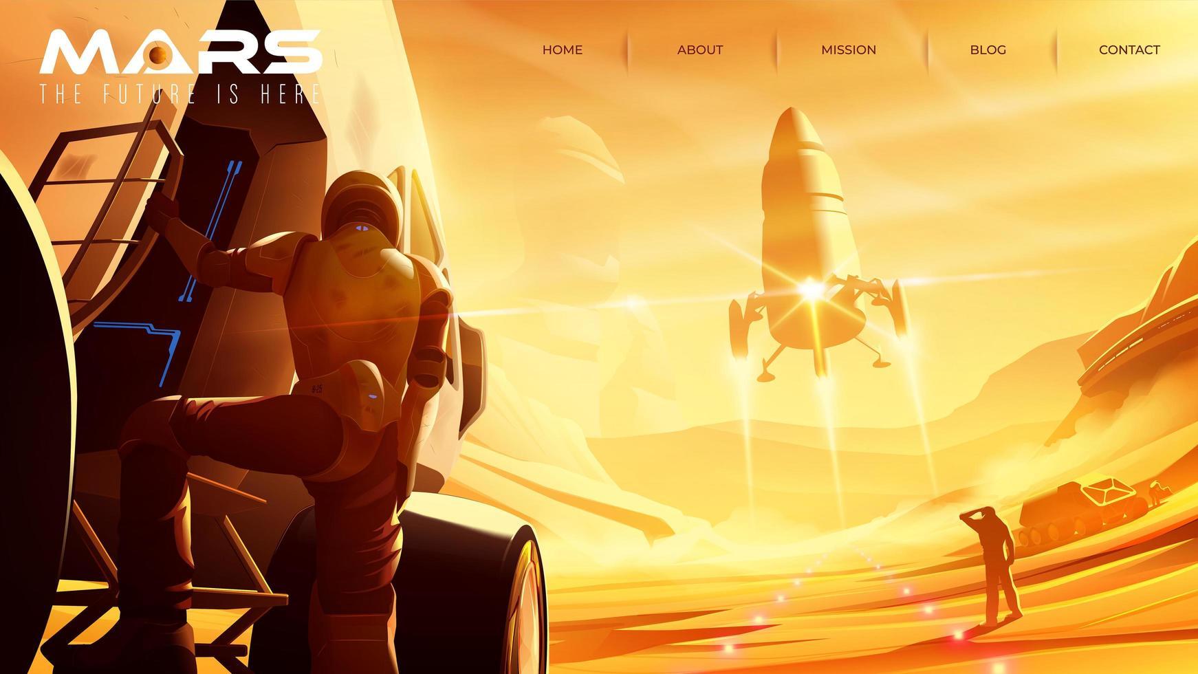 Mission am Mars für Landingpage-Vorlage vektor