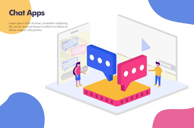 chatt apps isometrisk design illustration koncept. modernt platt designkoncept för målsideswebbplats, mobilappar ui ux, banneraffisch, flyerbroschyr, webbannonser. vektor eps 10