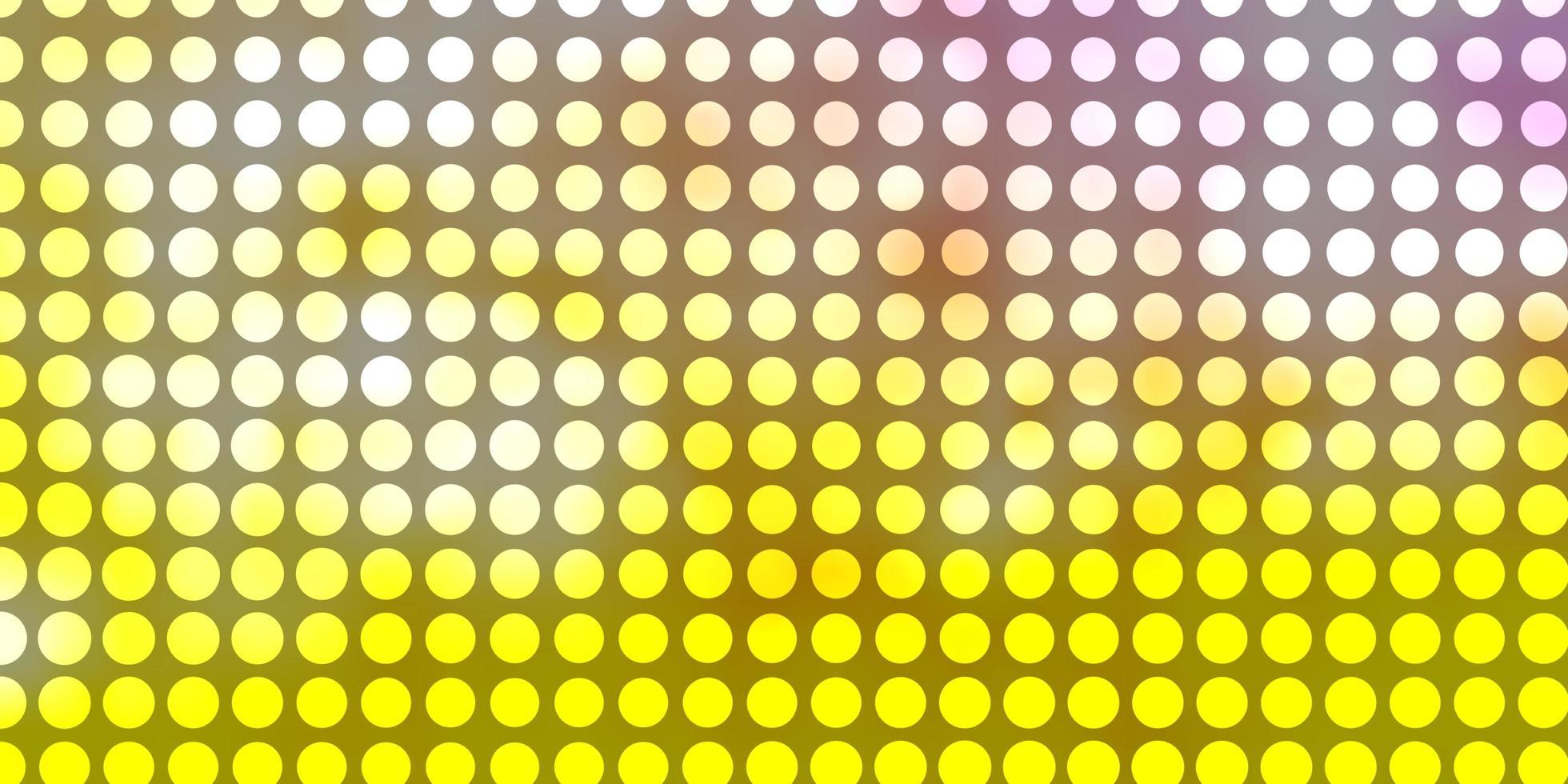 hellrosa, gelbe Vektorschablone mit Kreisen. vektor