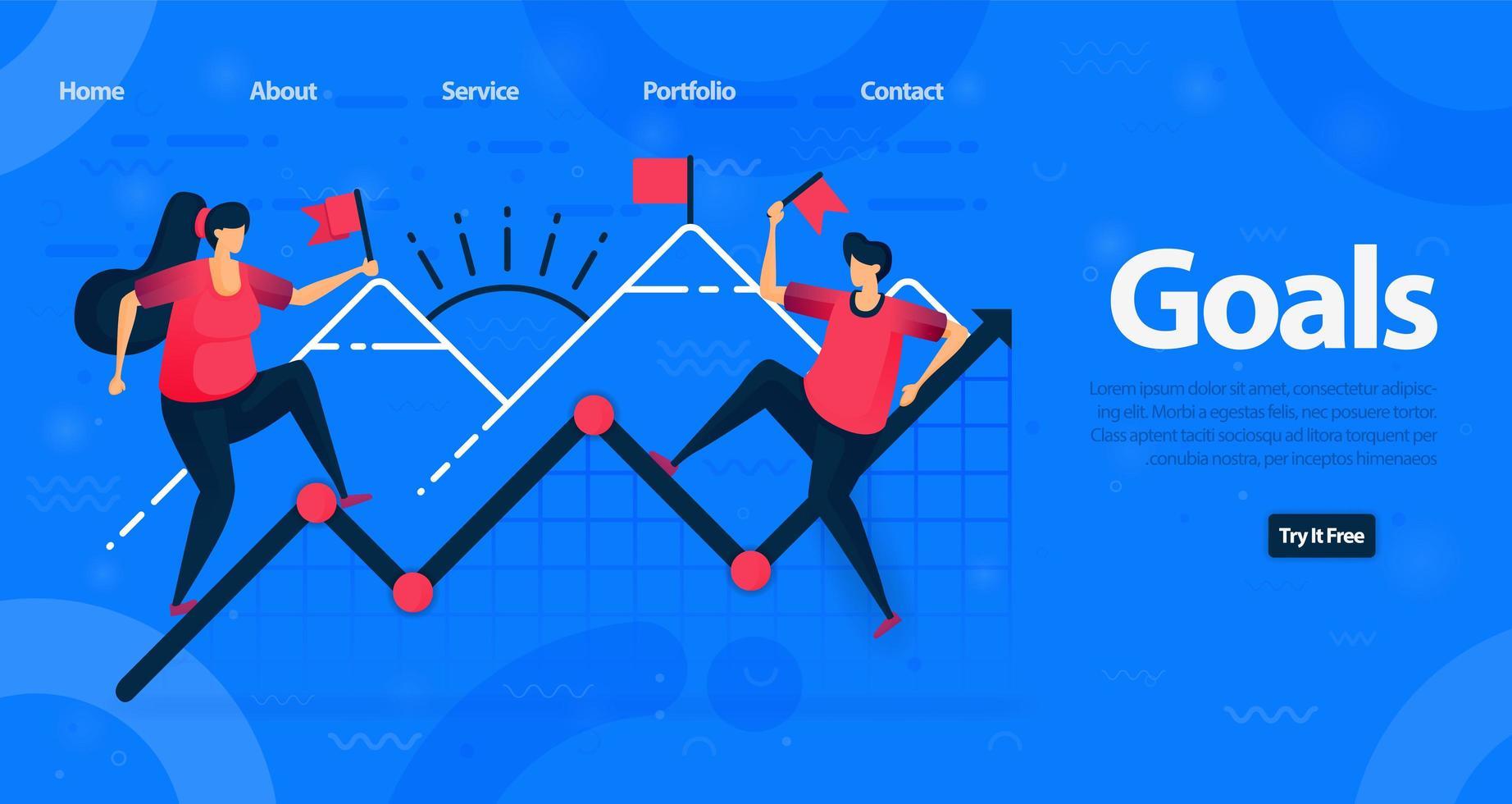 webbplats och målsidesmall för företag. motivation att uppnå högre mål och uppnå en diagramökning i företagsfinansiering. vektorillustration för webb, målsida, banner, mobilappar vektor