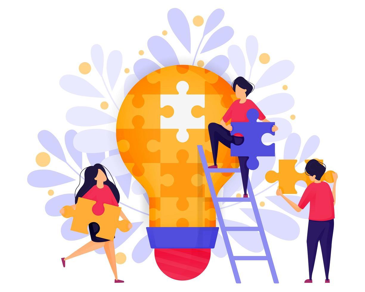 Teamarbeit in der Wirtschaft. Menschen kooperieren, um Rätsel zu lösen und Ideen und Lösungen für den Aufbau eines Startup-Unternehmens zu finden. Zeichenkonzept-Vektorillustration für Web-Landingpage, Banner, mobile Apps vektor