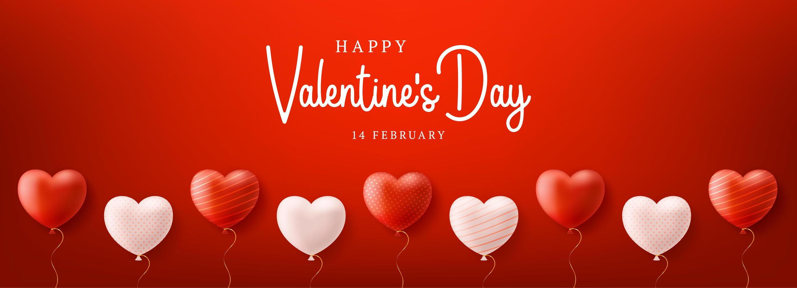 Valentinstag Verkauf Hintergrund mit Luftballons Herzmuster vektor