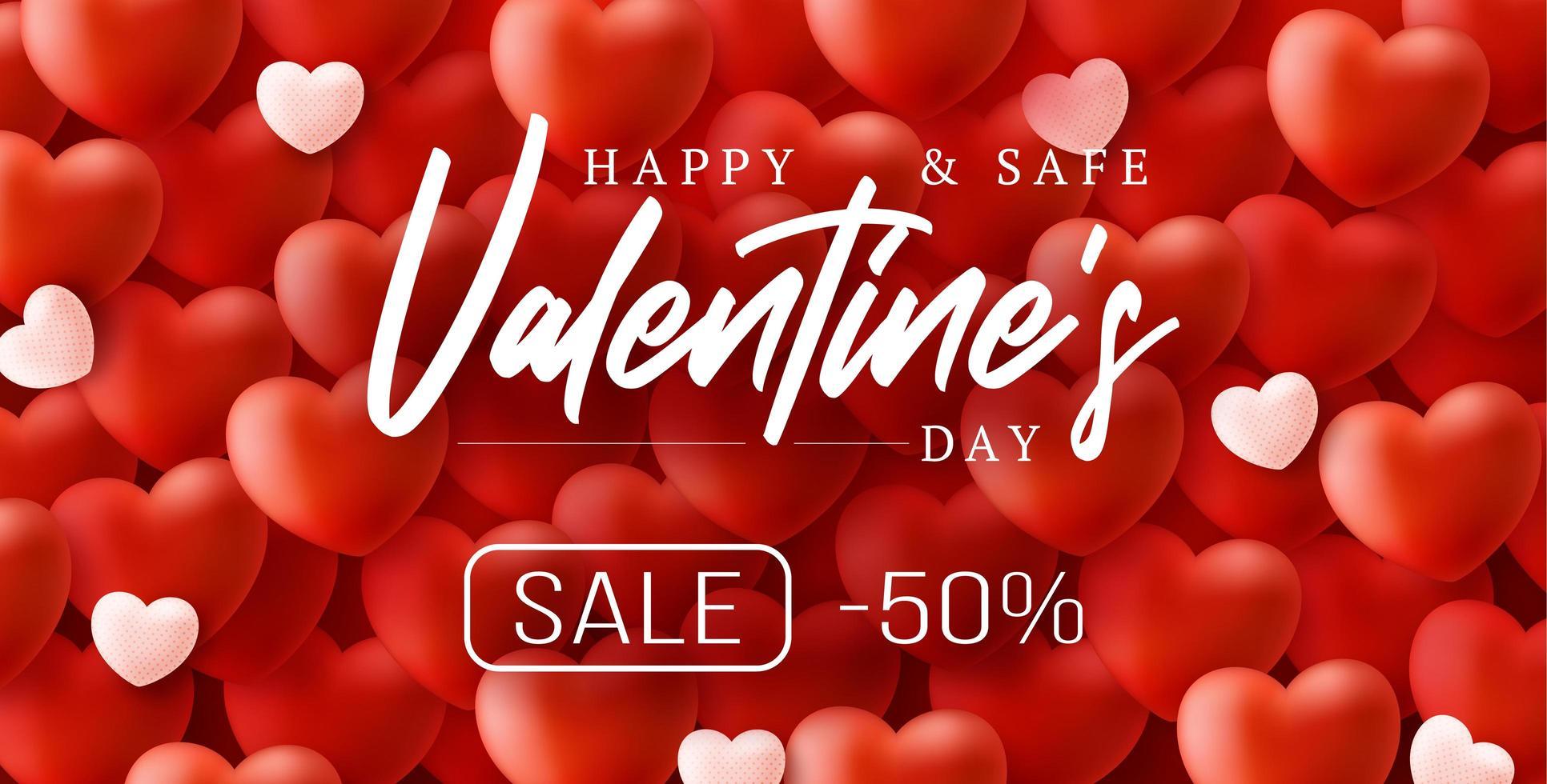 glad och säker alla hjärtans dag försäljning bakgrund vektor
