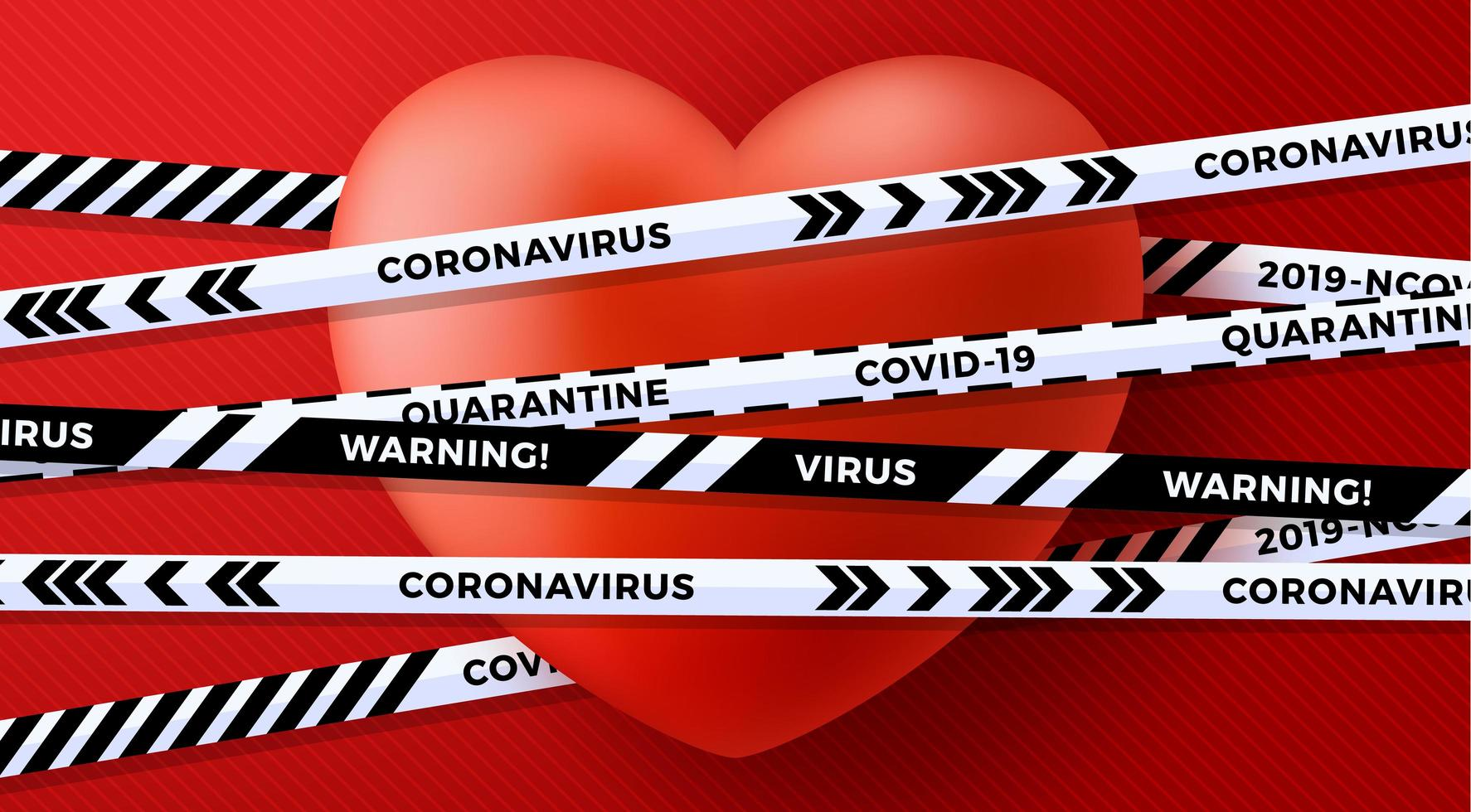 rotes Valentinstag Liebesherz und Quarantäne Biohazard Gefahr vektor