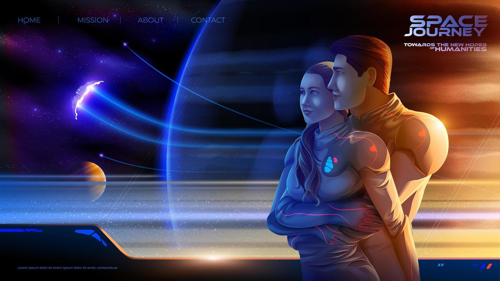 Umarmung eines Paares im Raumschiff der Kolonie auf der langen Reise in die neue Welt vektor