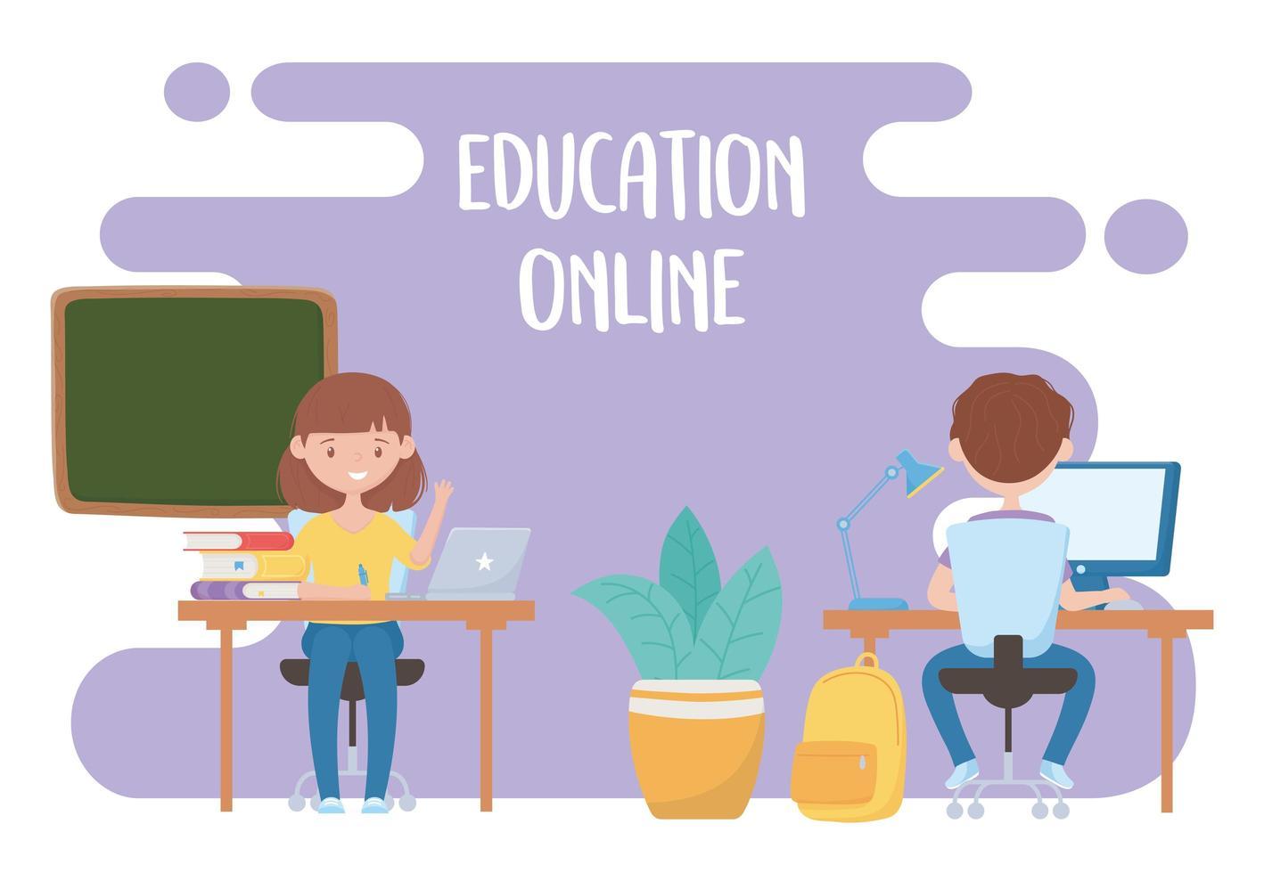 utbildning online, lärare och student virtuell klass med bärbar dator vektor