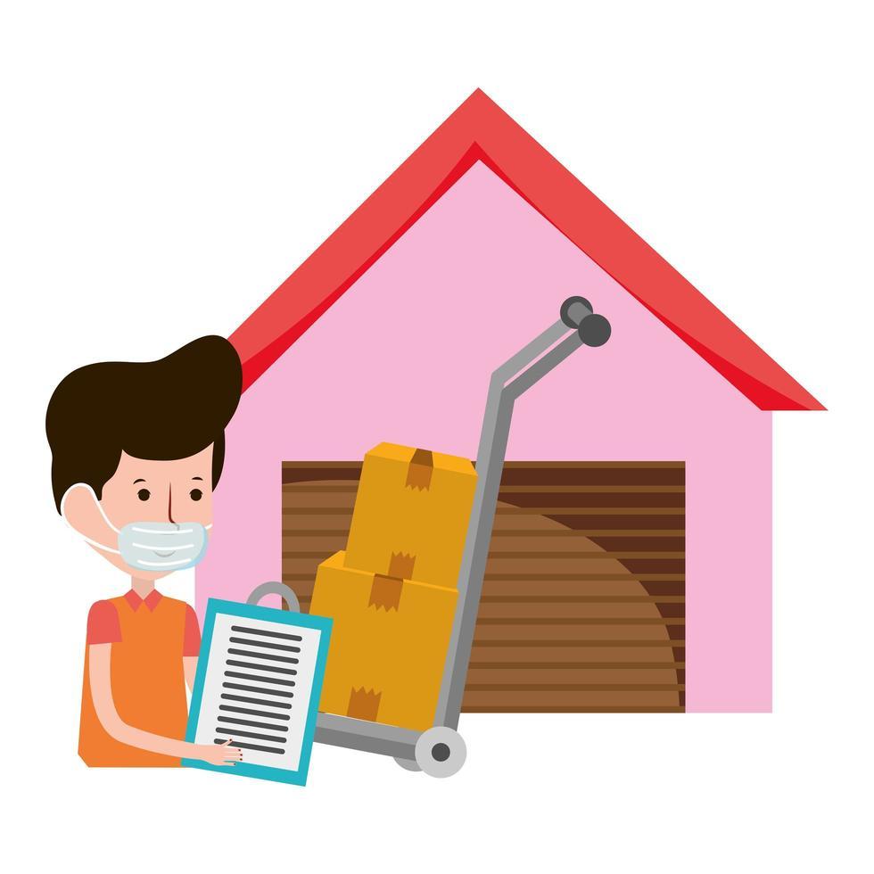 leveransman lager och handvagn med lådor e-handel online shopping covid 19 coronavirus vektor
