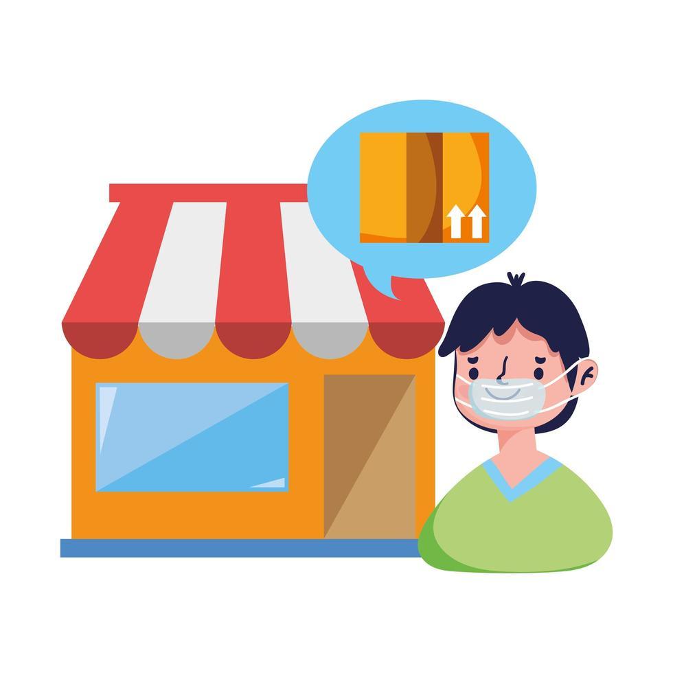 kund med maskbeställning på marknaden e-handel online shopping covid 19 coronavirus vektor