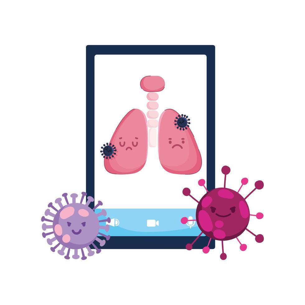 smartphone lungor och covid 19 virusvektordesign vektor