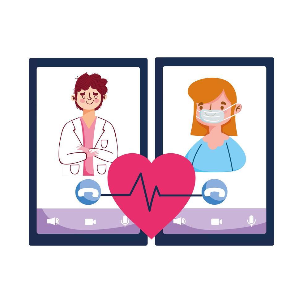 isolerad man läkare kvinna med mask och smartphone vektor design