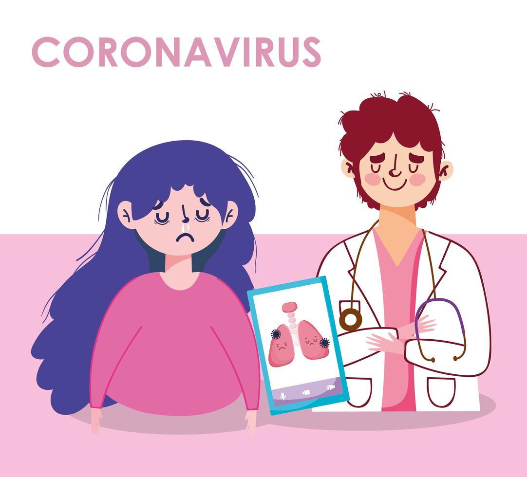 coronavirus kvinna man läkare lungor och smartphone vektor design