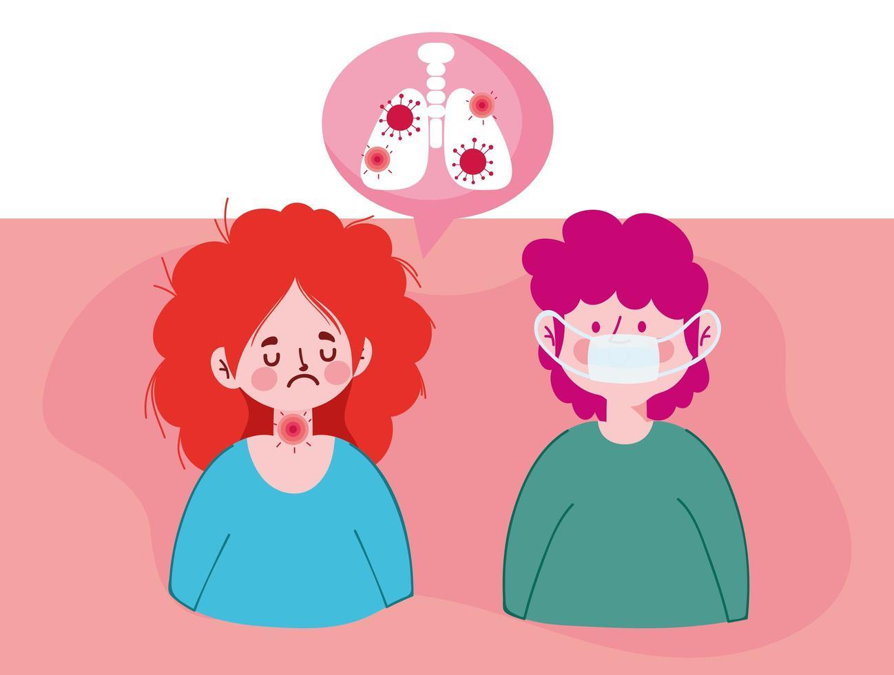 kvinna man avatar med lungor inuti bubbla vektor design