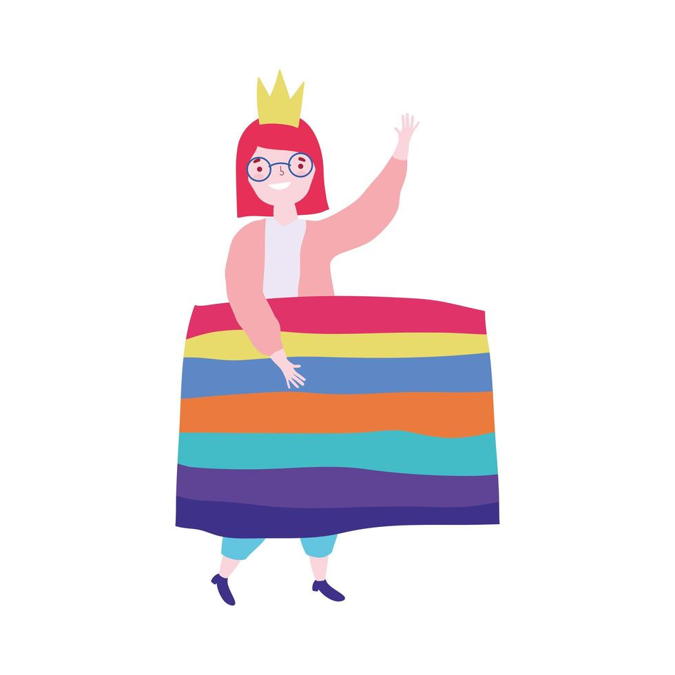 pride parade lgbt community, människor med flaggor jämlikhet och skydd av homosexuell kärlek vektor