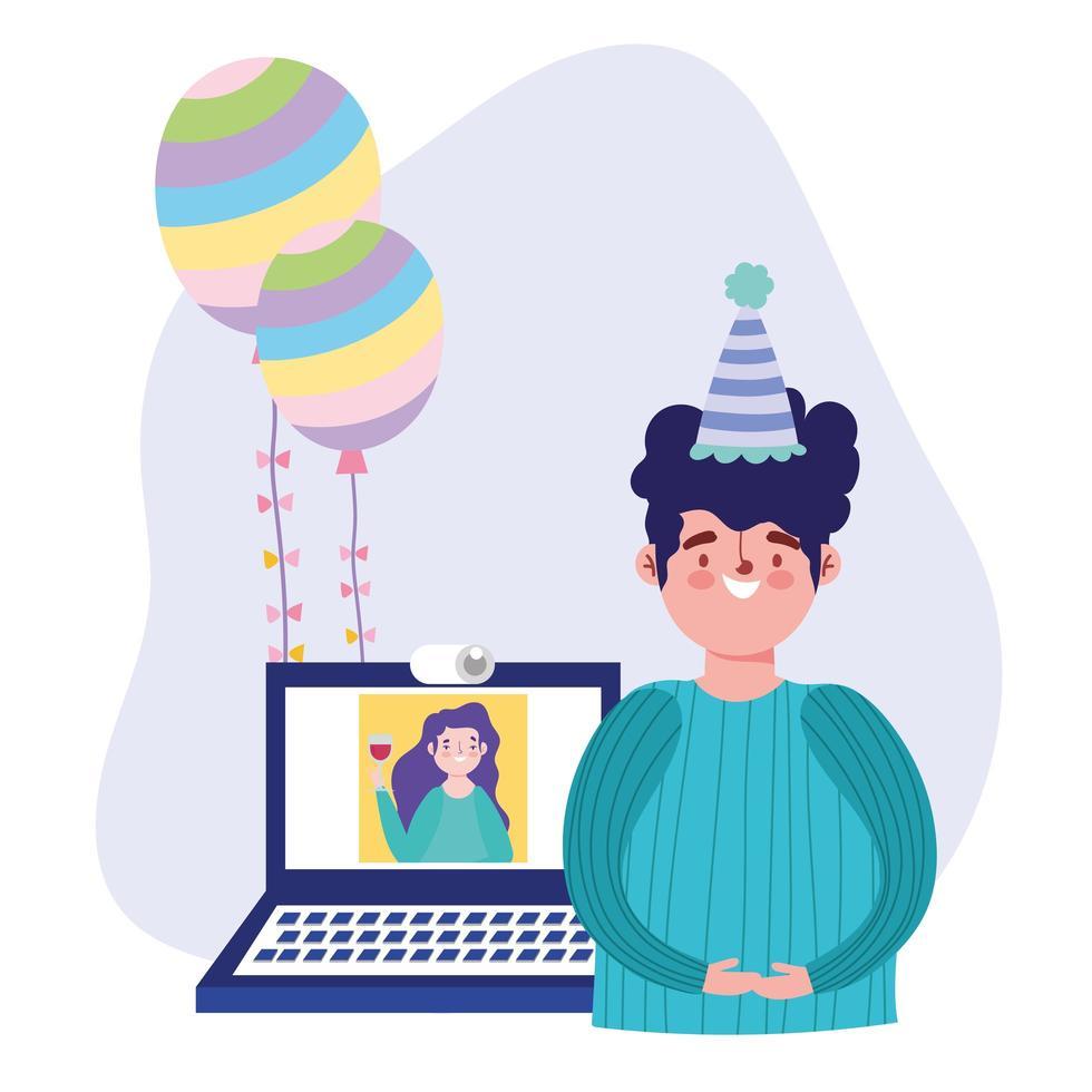 online fest, födelsedag eller träffa vänner, firar man med laptop kvinna ansluten vektor