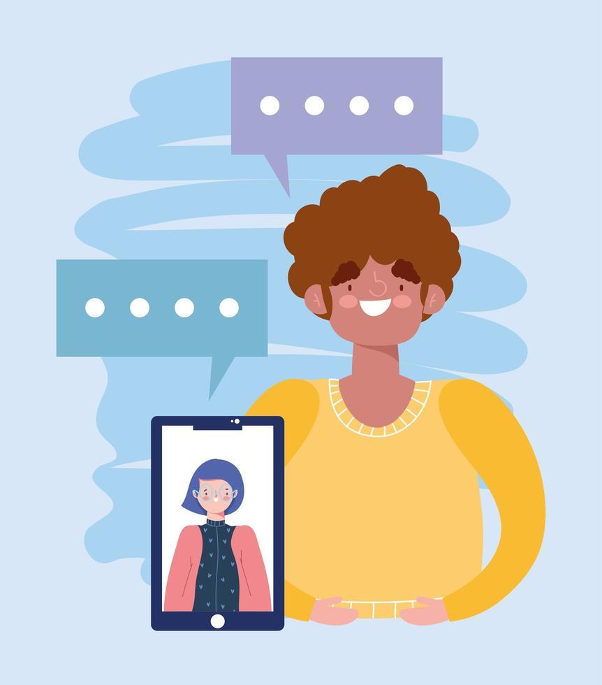 online-fest, födelsedag eller träffa vänner, kvinna och man som talar avstånd med smartphone vektor